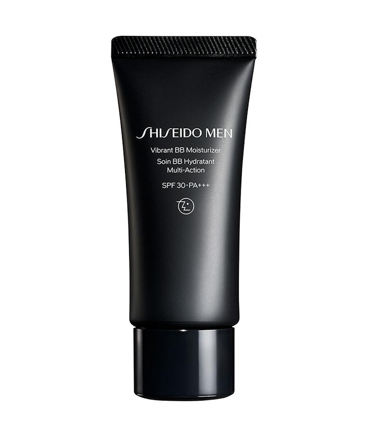 <p><strong>Shiseido Men<br /> シセイドウメンのヴァイブラント BBモイスチャライザー</strong><br /> 完全リニューアルを遂げたプレステージブランドのお勧めは保湿ができ、潤いを長時間キープしながら、オンライン会議で目立つ赤みや青ヒゲ、シミ、くすみ等を一掃して肌トーンの調整を。40g 4000円(SHISEIDOお客さま窓口)</p>