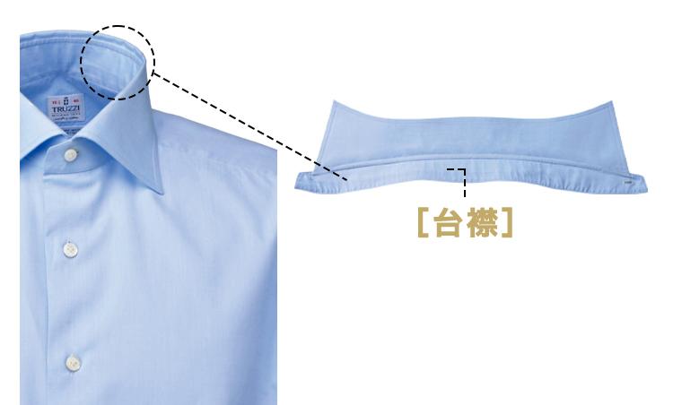 <p><strong>[台襟]</strong><br /> カラーバンドとも呼ばれ、襟を立体的に立たせる。</p>