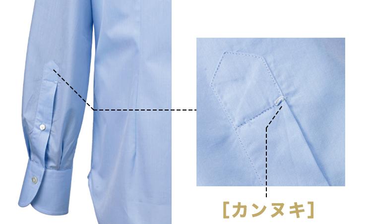 <p><strong>[カンヌキ]</strong><br /> 高級シャツではグリカンという手縫いの場合も。</p>