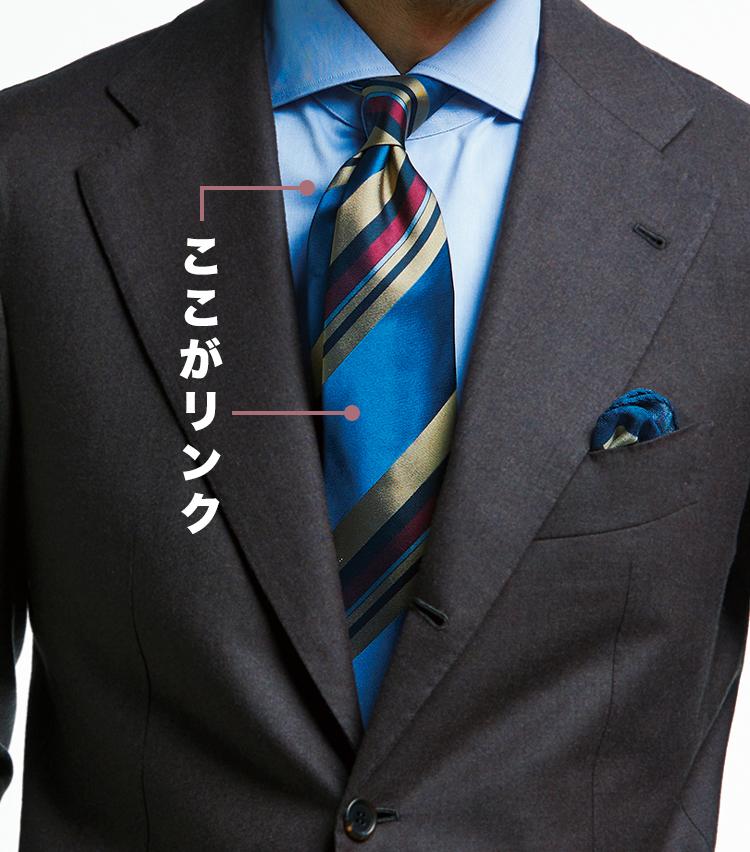<p><strong>発色強めのタイもブルー合わせでマッチ</strong><br /> チーフでも青をリンク</p>