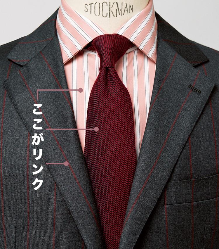 <p><strong>シャツ、タイ、スーツの柄のグラデ使い</strong><br /> 色調の濃淡ずらしで奥行きUP</p>