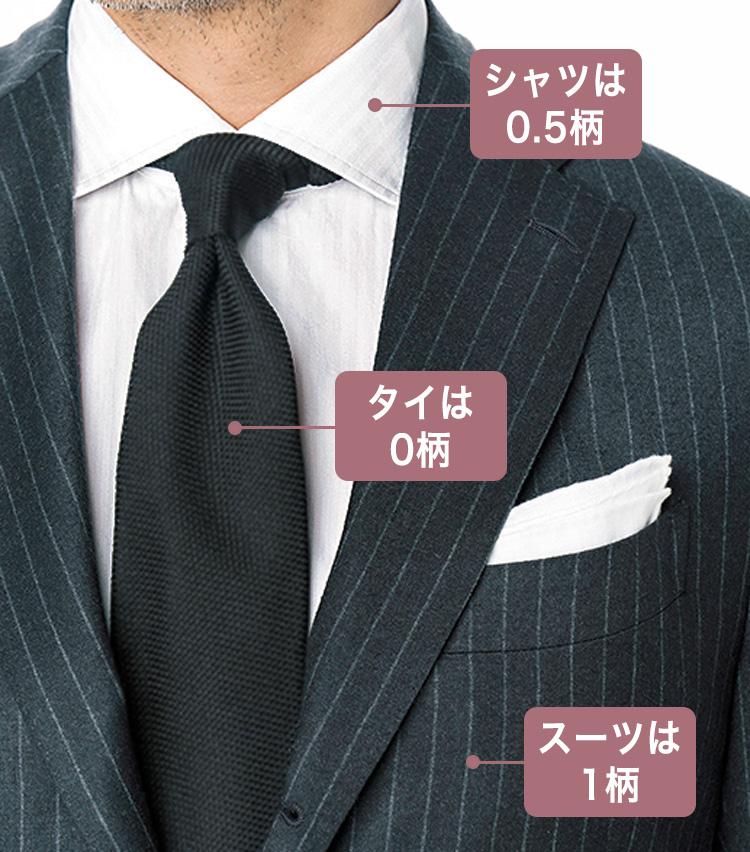 <p>チャコールグレーのストライプスーツ×白シャツに、ツイル織りの紺無地タイを合わせ、奥行き感を生んでいる。</p>
