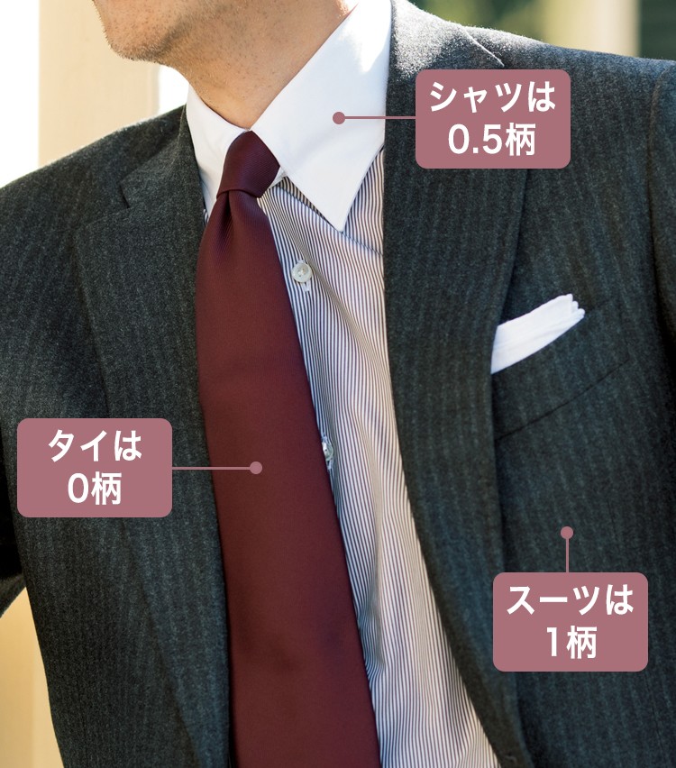 <p>起毛感のあるグレーのストライプスーツにボルドーの無地タイが、ストライプのシャツに映える。</p>