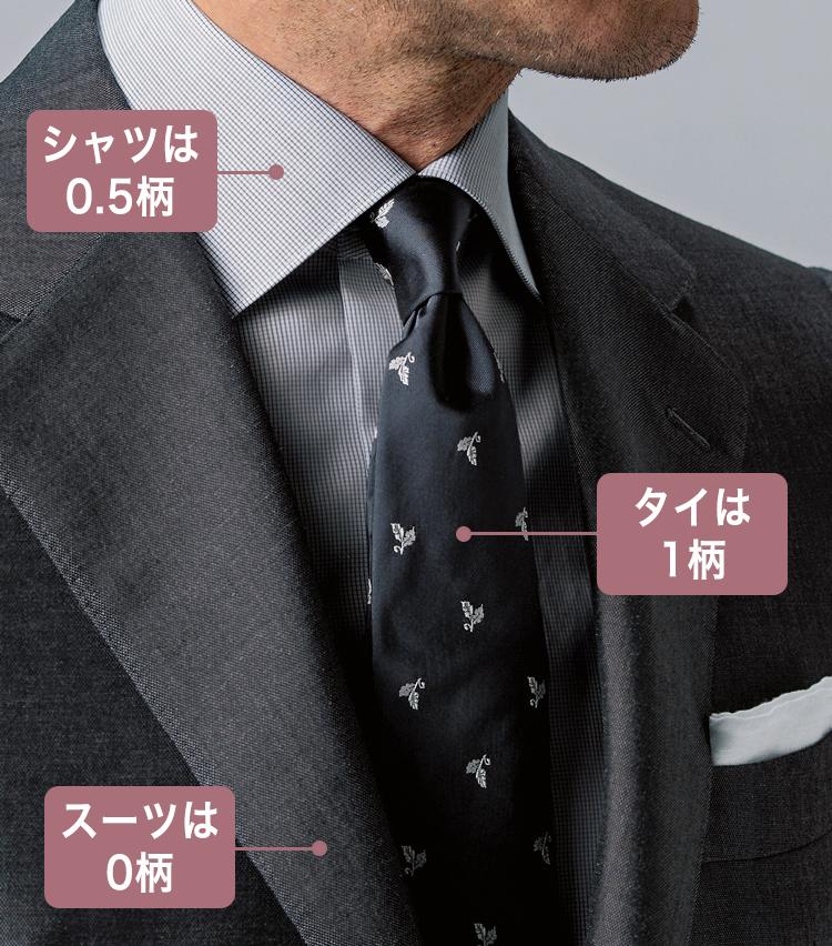 <p>ソリッドな光沢スーツとマイクロチェックシャツに、シルクサテンのタイをプラス。グレーのトーンがクールだ。</p>