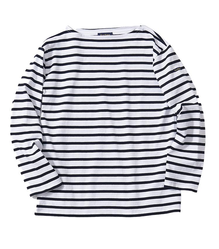<p><strong>9.ルミノアのボーダーTシャツ</strong><br /> バスクシャツの代表的ブランドと言えるルミノア。ボートネックでフレンチブランドらしい上品な佇まいだ。 生地も滑らかで、カジュアルすぎずに大人らしく着られる。ゆったりめなシルエットでオフの寛いだ装いに◎。1万5400円(ビームス 六本木ヒルズ TEL 03-5775-1623)</p>