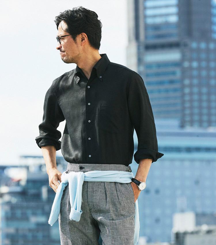 リネン素材の涼しいシャツ_GIANNETTO × NANO・UNIVERSE
