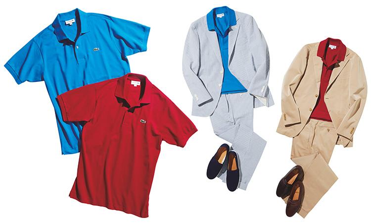 ラコステ「L.12.12」のカラーポロシャツ_シャツとコーデのコラージュ