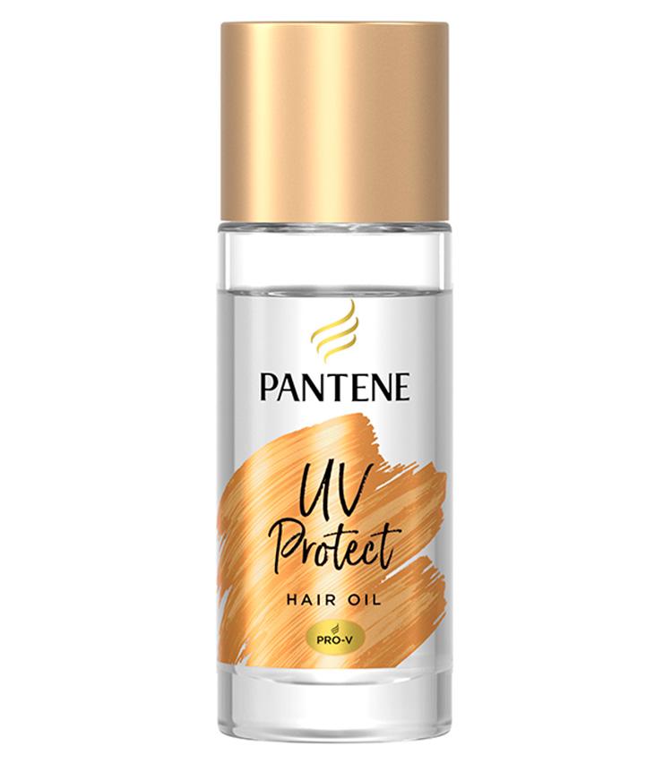 """<p><b>PANTENE<br />パンテーンのUVカット ヘアオイル</b><br /> """"UVカット・ヴェール""""を搭載する髪の日焼け止め。紫外線とドライヤーの熱による乾燥やパサつきからも髪を守る。髪にムラなく塗布できる""""スムースキャリーオイル""""でサラサラに。50㎖ 1348円〈参考価格〉(P&G)</p>"""