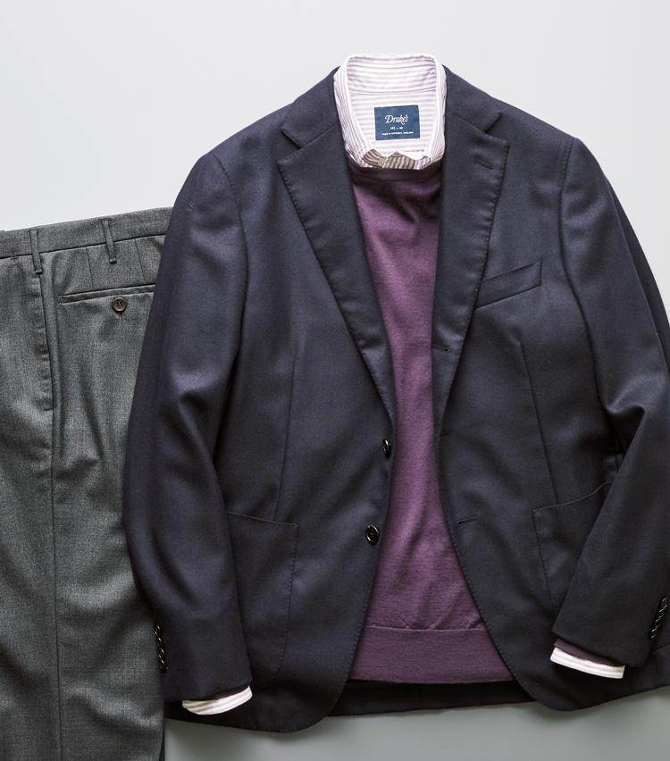 """<p><strong>「審美眼の""""紫""""」×紫ストライプシャツ</strong><br /> 高貴な色と言われるパープルは、審美眼を研ぎ澄ます色。ニットの色をシャツのストライプで拾えば、奥行きあるノーブルな雰囲気に</p>"""