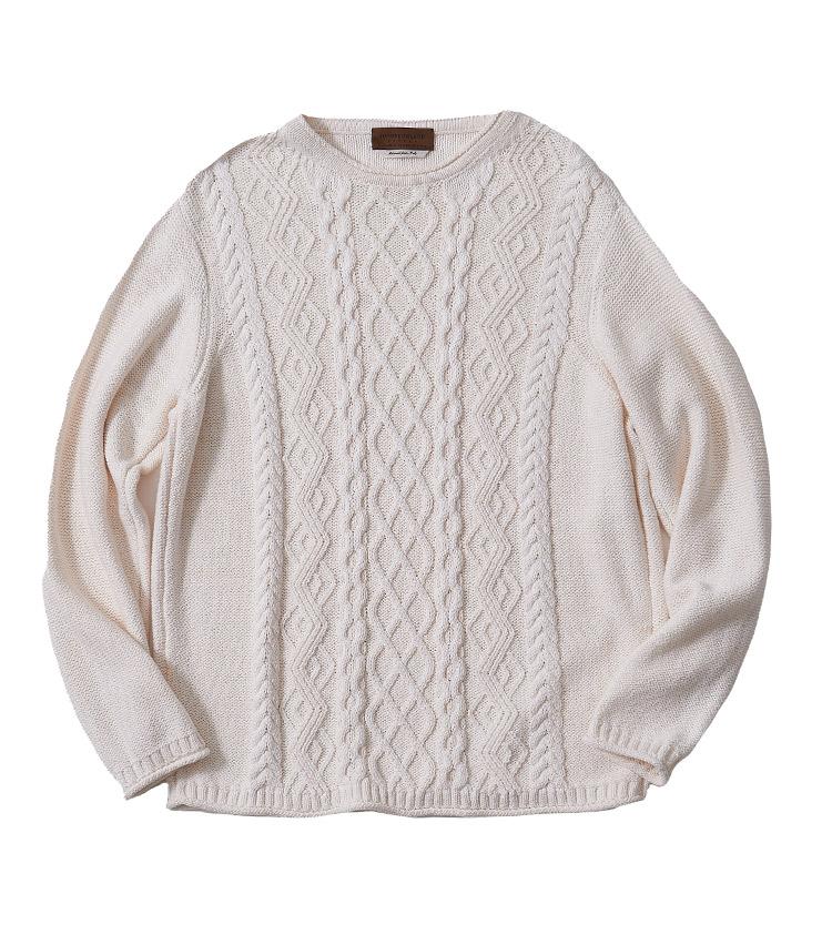 <p><strong>2.トゥモローランド トリコのケーブルニット</strong></p> <p>イタリア製のコットン生地を用いたニット。アイリッシュセーターのようなケーブル編みがトラッドな雰囲気を醸し出す。袖、首、裾先の生地のロールも洒脱で、肩掛けしても着こなしのアクセントになってくれる。4万4000円(トゥモローランド TEL 0120-983-522)</p>