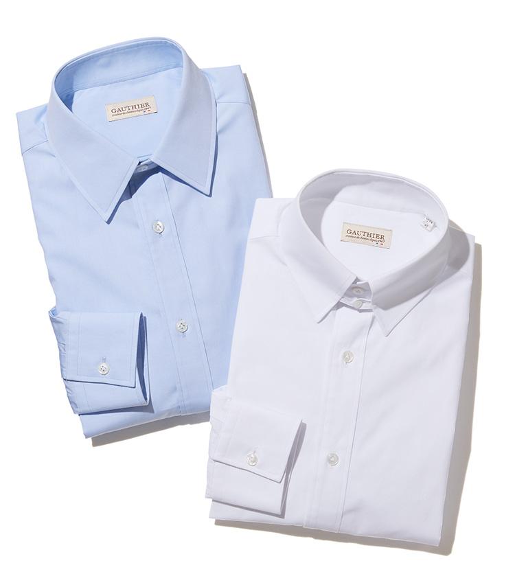 アトリエ ゴティエのドレスシャツ_青と白
