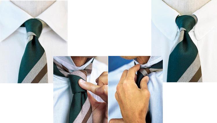 ネクタイの結び目は「台形」と「逆三角形」を使い分けるべし