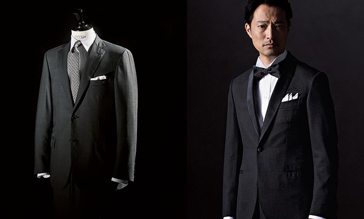 服飾知識編_無地のダークスーツ、タキシードを着用した準礼装