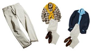 【Nakamura's BASIC】オフホワイトの5ポケットパンツの着こなし術