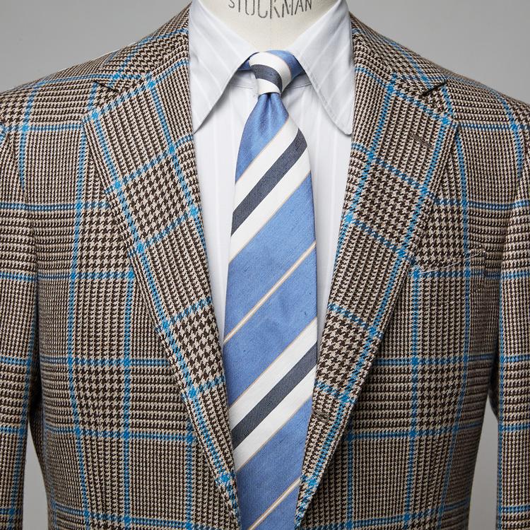 柄ジャケットの色を拾った上手な着こなし方【1分で出来る胸元お洒落】