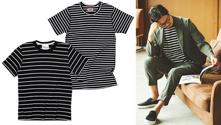 大人顔の「黒ボーダーTシャツ」は大人の休日スタイルによく映える!