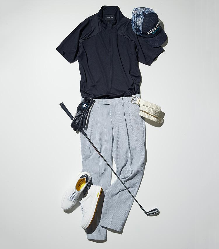 夏ゴルフでのロングパンツ、シアサッカーパンツ_マンシングウェア