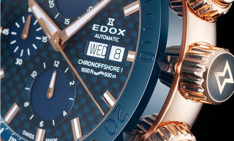 EDOX(エドックス)_クロノオフショア1 クロノグラフ オートマティック_頑強さとマッシブさを強調する厚さ3.5mmのセラミックベゼル