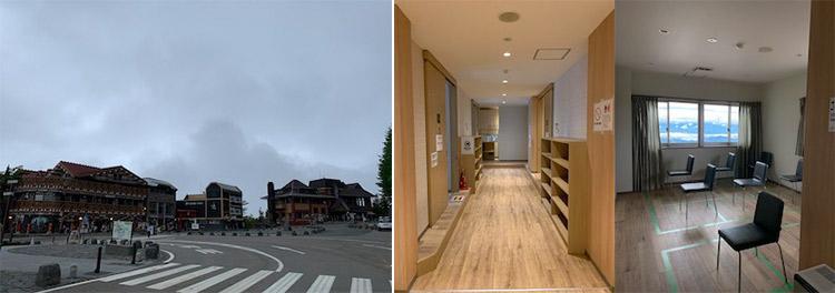 左:富士スバルライン五合目の集合地点 中・右: 清潔で明るいロッカーと更衣室