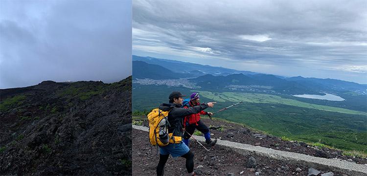 左:山小屋から山頂 右:下山途中の休憩