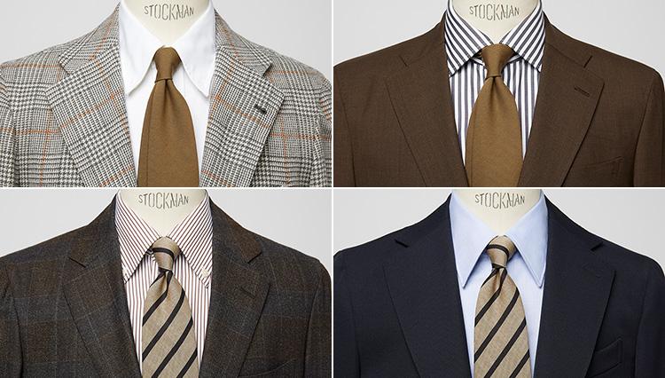 シンプルなアースカラーのネクタイでスーツ姿をアップデート!