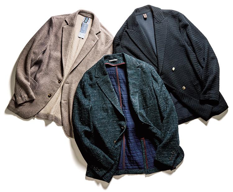 裏貼りニットJK(ジャケット)できちんと寛ぐ。バグッタ、カナーリ、エストネーション