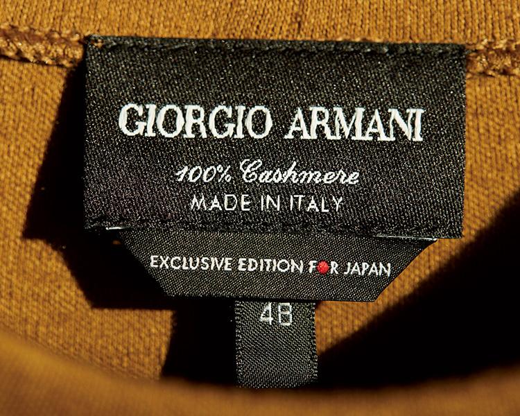 ジョルジオ アルマーニの日本限定カシミアコレクション タグアップ