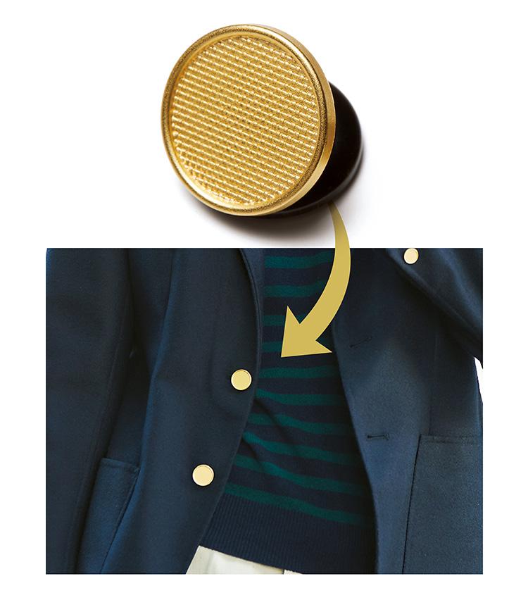 シップスのネイビージャケット、OFFには金ボタン