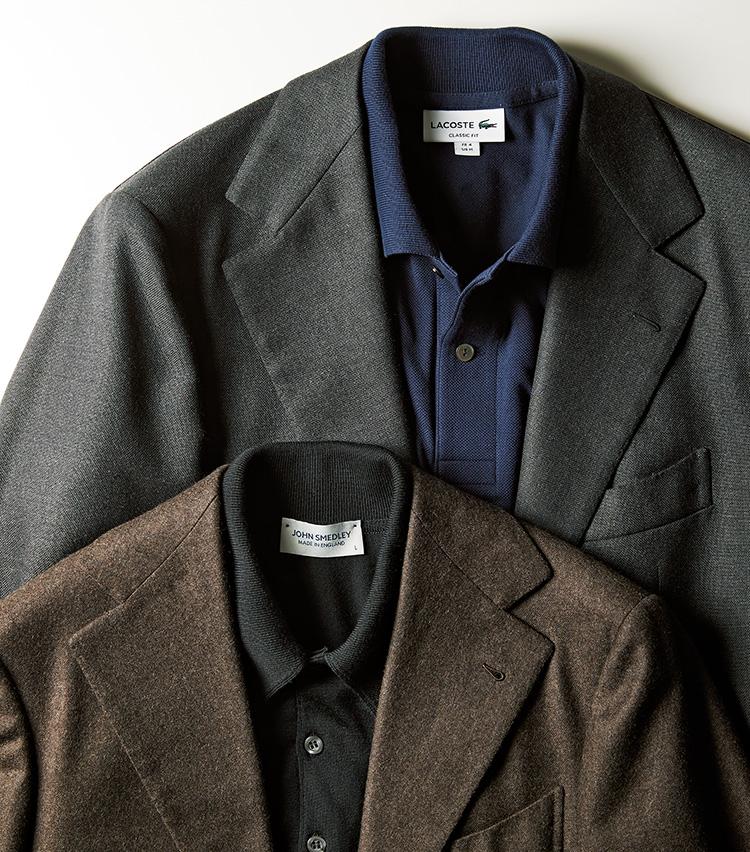 最高級スーツをポロシャツinで普段使いする 上:チッチオ×ラコステ、下:サルトリア カヴート×ジョン スメドレー